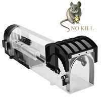 Reutilizável Inteligente Rato Catcher Armadilha Humana Plástico Transparente Sem Matar Roedores Ratos Piege Rato Controle de Pragas Armadilha Ao Vivo para o Interior e Exterior