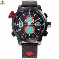 North Luxury Men Watch Muiltfunction Waterproof Sport Watch For Man Big Dial Geniune Leather Black Red