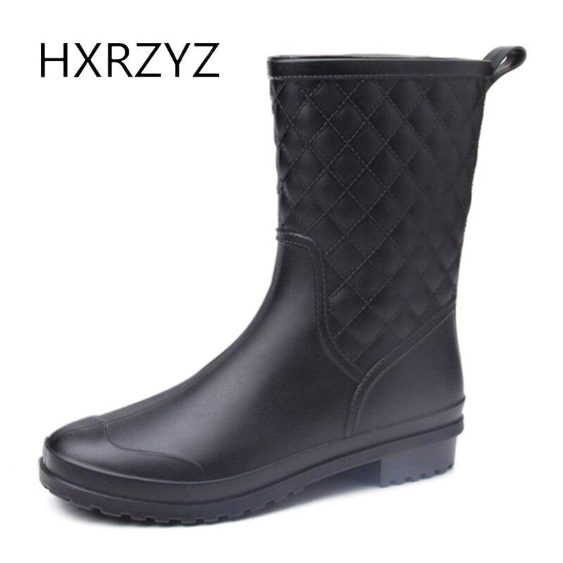 HXRZYZ women rubber font b boots b font Spring and autumn ankle font b rain b