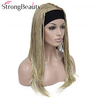 StrongBeauty Synthetic Women Long Wigs Braiding Crochet Hair With Headband Half Wig