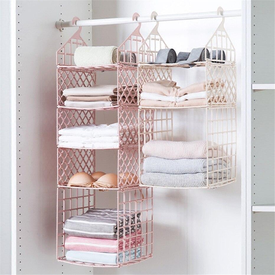 Bedroom Wardrobe Organizer Underwear Bra Clothes Pants Tie Storage Rack Cupboard Closet Hanging Basket Hooks Shelf1