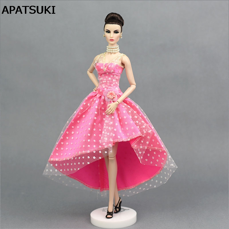 Pink 1/6 Doll Clothes For Barbie Doll Evening Gown Party Dress For Barbie Dollhouse 1:6 Miniature Doll Accessories