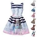Moda Menina Vestido de Verão Para 12 Anos As Crianças Princesa Graffiti Vestido Da Menina Roupa Dos Miúdos Vestido de Festa de Aniversário Da Menina Adolescente Da Escola