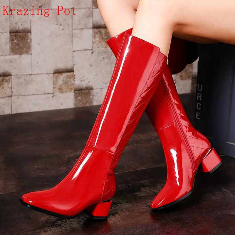 Krazing Pot Winter genuine leather patent med heels square toe streetwear zipper plus size design Chelsea knee-high boots Lyc krazing pot cow leather low heels gladiator round toe hollywood european chelsea boots plus size streetwear nude boots l83