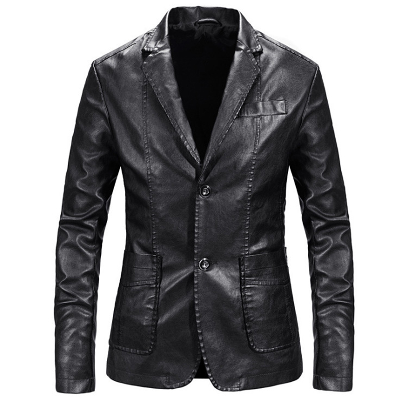 Men Blazer And Jackets Slim Fit Leather Jacket Fashion Black Party/Wedding/Business Blazer Leather Jacket Male Outwear 4XL