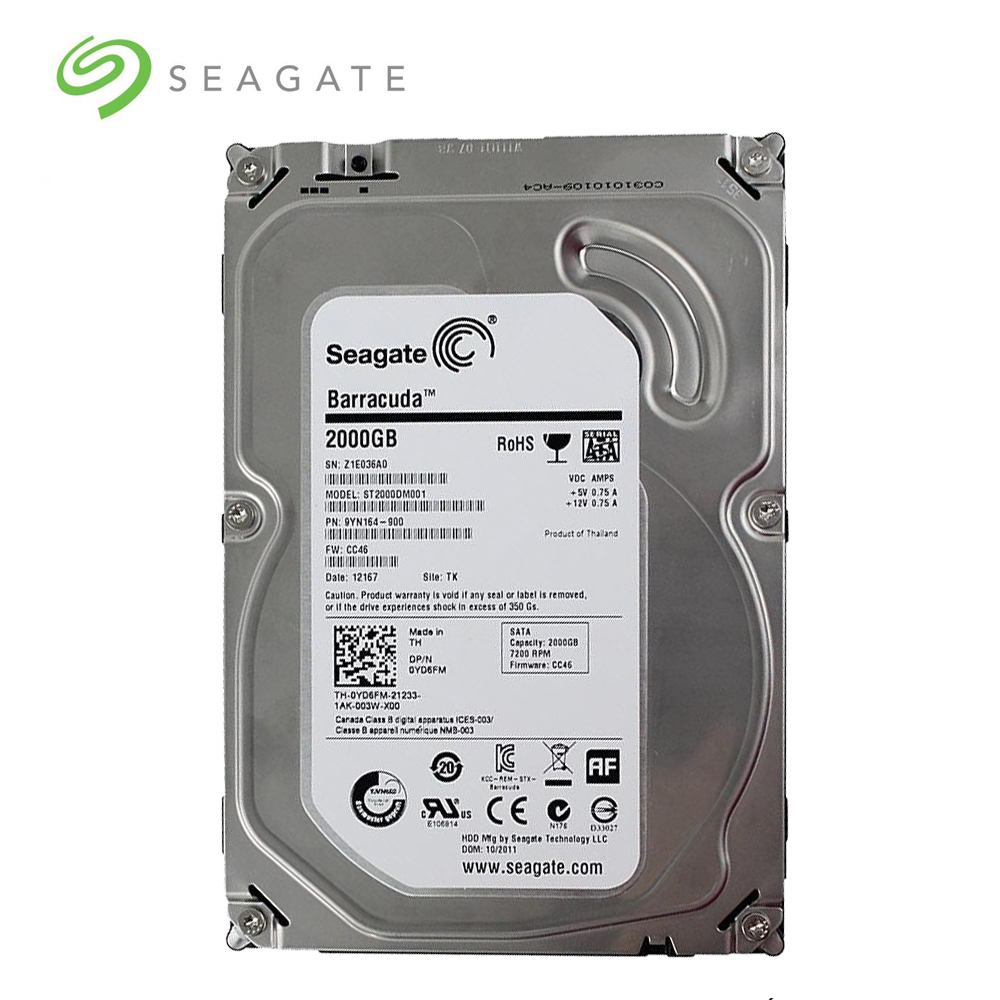 "Seagate Brand 2000GB Desktop PC 3.5"" Internal Mechanical Hard disk SATA3 6Gb/s HDD 2TB 5900/7200 RPM 64 MB Buffer"