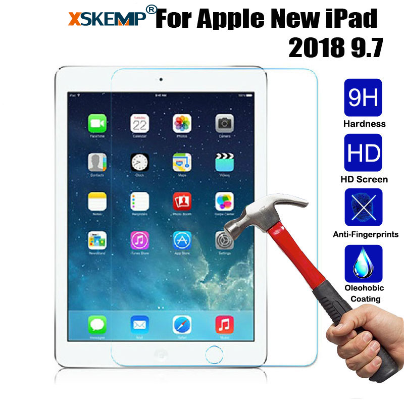 XSKEMP 9H Hard Anti-Shatter Screen Protector For Apple New iPad 2018 97 03MM Real Tempered Glass Guard Tablet Protective Film