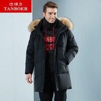 TANBOER men's down jacket winter coat goose down coats loose long style puffy snow windproof waterproof coats keep warm TA18691
