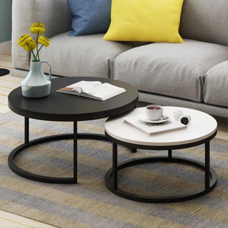 Сталь дерево дом в скандинавском стиле деревянный журнальный столик творческий маленькая квартира простой Гостиная комбинации сбоку мини круглый