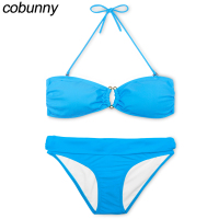 Cobunny Sexy Bandeau Bikinis Push Up Women Swimsuit Halter Brazilian Bikini Set Summer Beach Bathing Suit