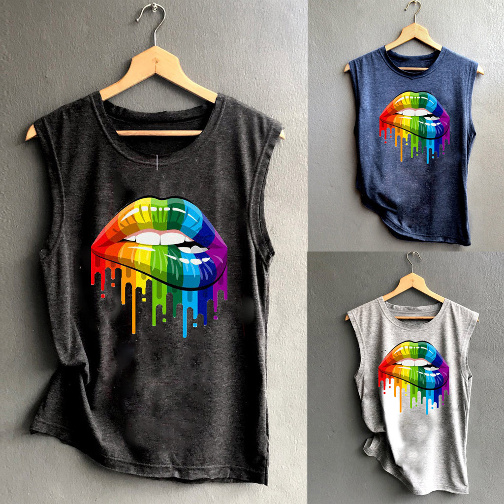 Rainbow Elephant Sleeveless Tanks Top T-Shirt Fit Men