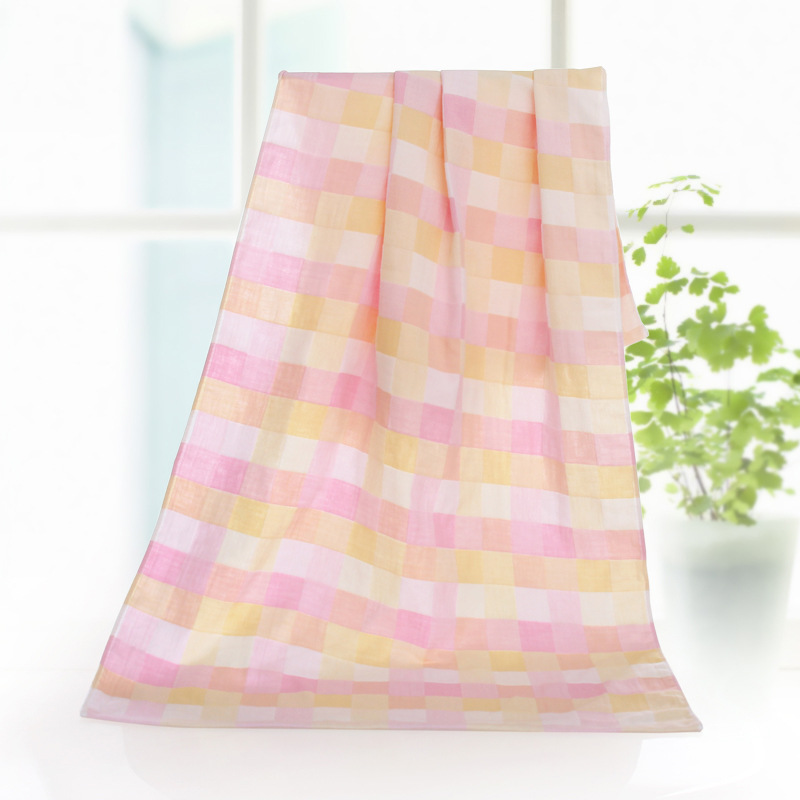 Childrens towel towels Children double gauze bath towel Childrens cotton plaid blanket Childrens multi-purpose bath towel bea ...