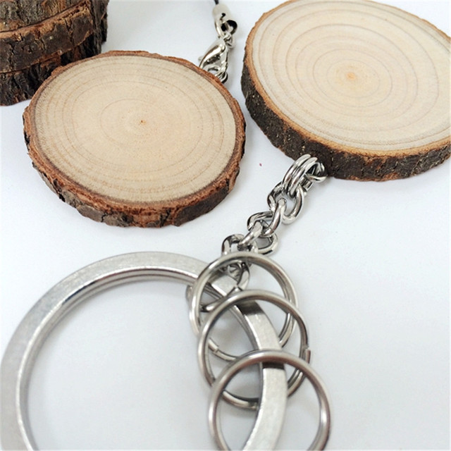 20pcs Lot Rustic Wedding Favors Chic Wooden Keychain Diameter 3 5cm Wood