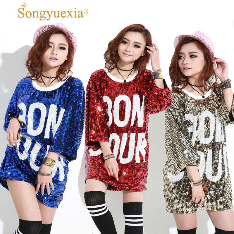 2017 Paillette Show Costumes Dance Long Fund Dance clothes Woman Stage Adult Modern T Hip Hop Singer Cheereleading clothing