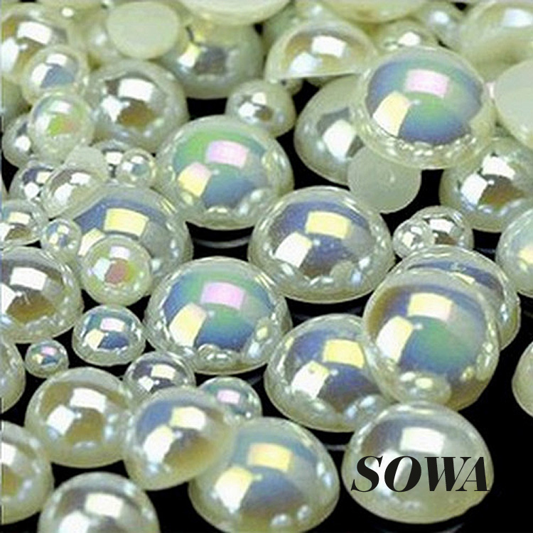 Free Shipping 8mm Ivory AB Color Craft ABS Resin Flatback Half Round Pearls Flatback Scrapbook Beads DIY Nails(200Pcs/lot)