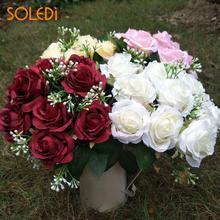 12 Κεφαλές Κομψή Χρήσιμα Τεχνητά Λουλούδια Προσομοίωση Τριαντάφυλλα Νυφική Μπουκέτο Χειροποίητη Διακόσμηση