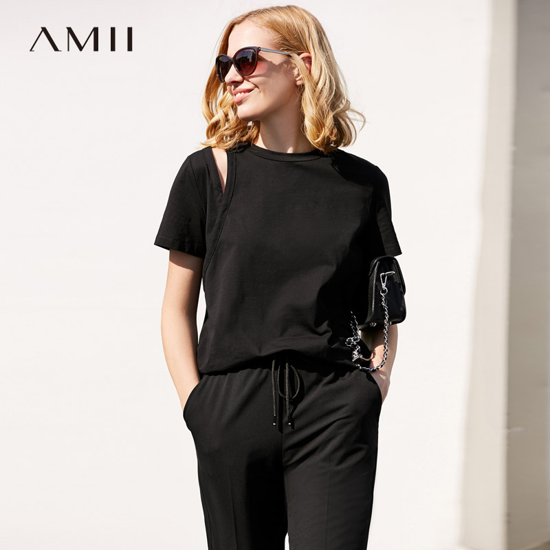 Amii Women Minimalist Vogue T-Shirts 2018 Solid Hollow Out O Neck Short Sleeve Female Tee Tops
