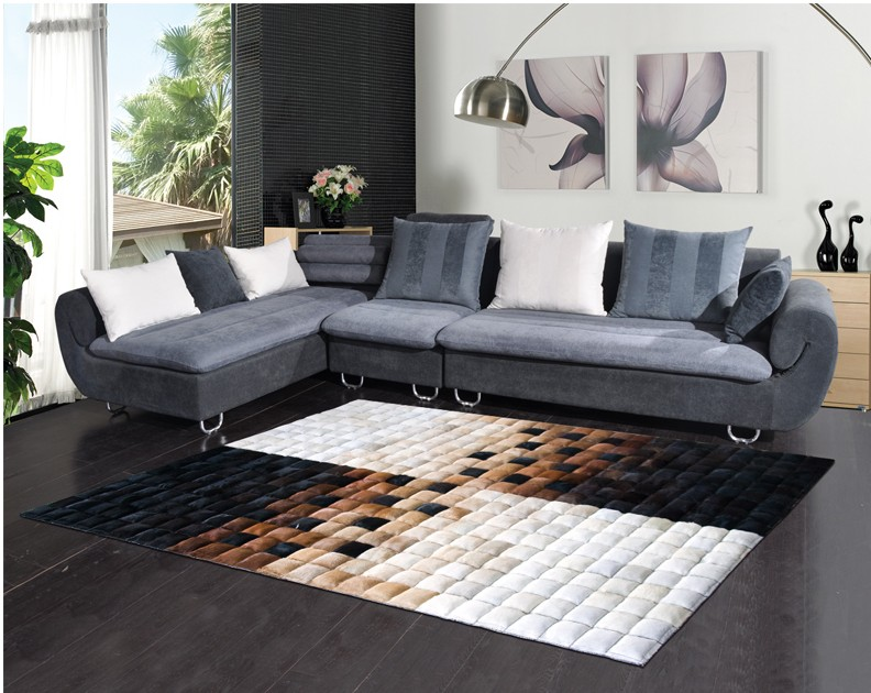 Handgemaakte nieuwe stijl luxe koeienhuid seamed tapijt, moderne ...