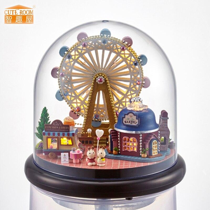 Meubels DIY Poppenhuis Wodden Miniatura Poppenhuizen Meubelpakket Glazen Cover Monteren Poppenhuis Speelgoed Voor Kinderen cadeau B23