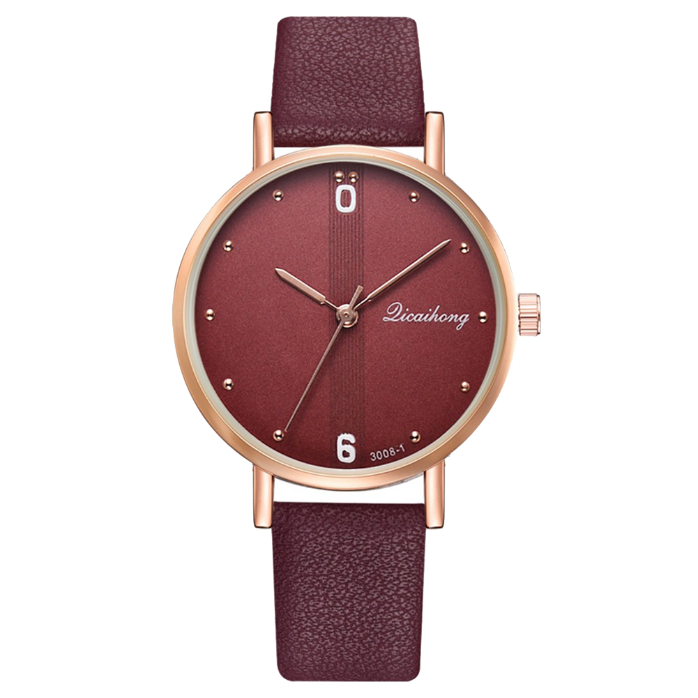 New Fashion Couple Watch Rivet Round Dial Analog Faux Leather Band  Quartz Wrist Watch For Lovers