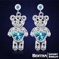 Amor urso bonito brincos para mulheres com Swarovski Elements austríaco cristal de alta qualidade brinco festa de jóias