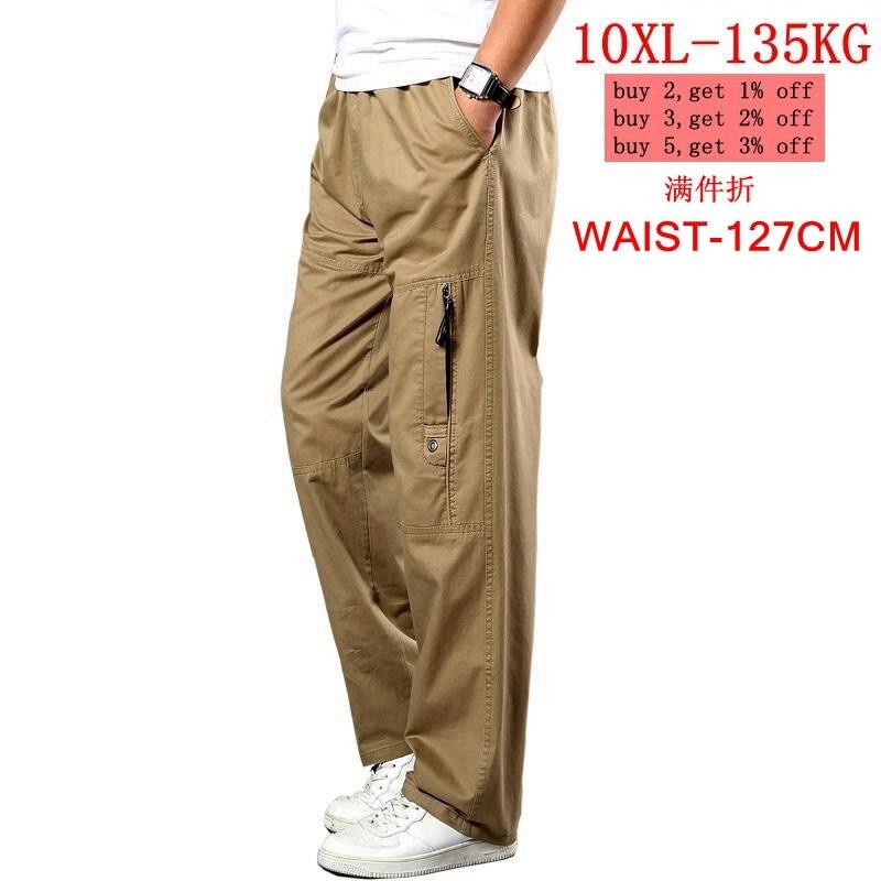 Men's Large Size Sweatpants Stretch Straight Pants Autumn Uniforms Wild Animal Leisure Khaki Pants Large 5XL 7XL 8XL 9XL 10XL Po