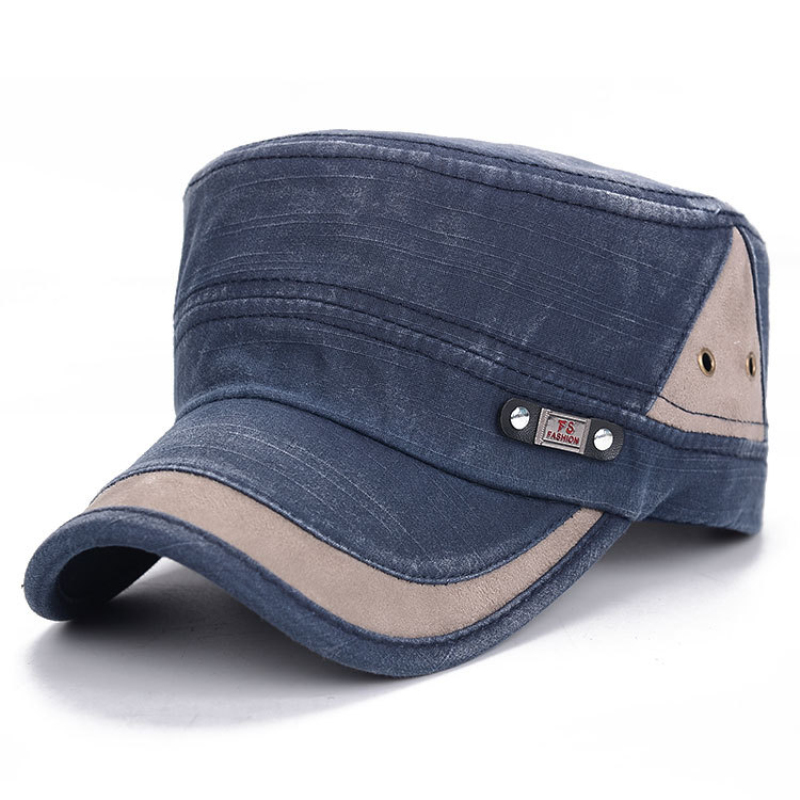 HT1739 Classic Vintage Flat Top Mens Washed Army Cap Hat Adjustable Fitted Duckbill Sun Cap Women Retro Cotton Military Hats Men image