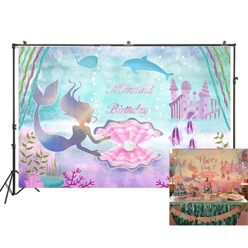 Little Mermaid Birthday Party Backdrops Under The Sea Photo Background Cake Table Banner Photo Booth Props W-2025