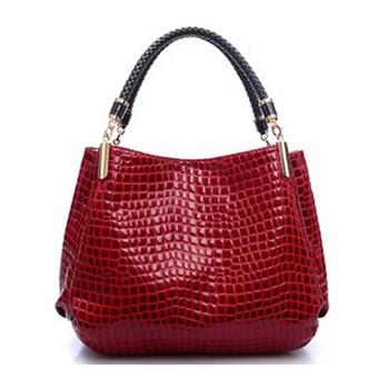 2017 couro de jacaré bolsa feminina bolsas de couro moda marcas famosas bolsa de ombro preto senhoras bolsas femininas sac