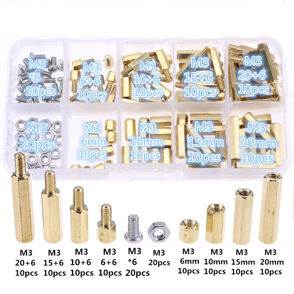 120pcs M3 Male Female Brass Spacer Standoff Screw Nut Assortment Kit (Brass M3) 304 stainless steel Hex Can be tracked