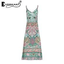 Everkaki Women Bohemian Dress Boho Floral Spaghetti Strap Long Dress Summer 2018 Backless Sex Deep V