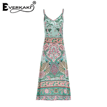 Everkaki Women Boho Floral Print Spaghetti Strap Long Dress V Neck Patchwork Dresses Lady Bohemian Dress 2018 Spring Summer New