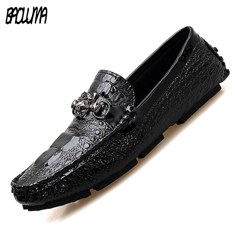 Mens Loafers Tassels Shoes Men Loafers Leather Moccasin Crocodile Style Footwear Slip On Flat Driving Boat Shoes Classical Male fashion tassels ornament leopard pattern flat shoes loafers shoes black leopard pair size 38