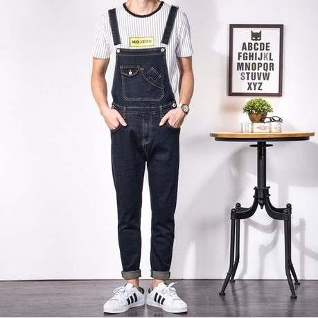1da07335127 placeholder male black denim bib coverall plus size denim jumpsuit for men  fashion mens slim fit overalls