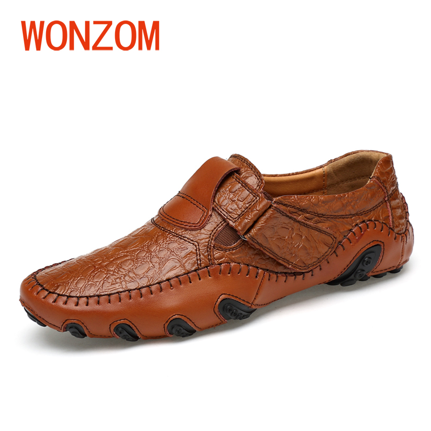 WONZOM Breathable Genuine Leather Men Shoes Light Casual Footwear Fashion Handmade Male Loafers Soft Driving Shoes Size 38-47 vesonal 2017 quality mocassin male brand genuine leather casual shoes men loafers breathable ons soft walking boat man footwear