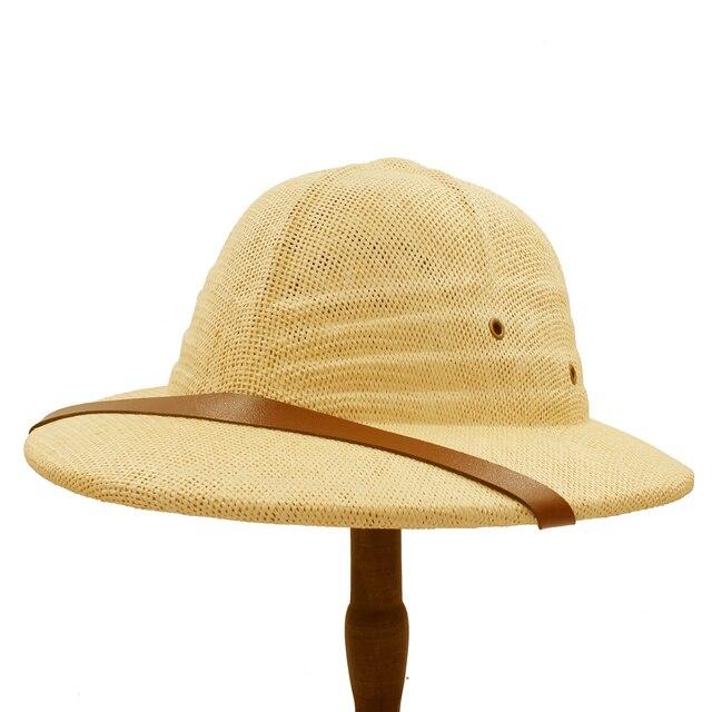 100% Toquilla Straw Helmet Pith Sun Hats Summer Men Vietnam War Army Hat  Dad Boater Bucket Hats Safari Jungle Miners Cap 56-59CM 10019b393ed3