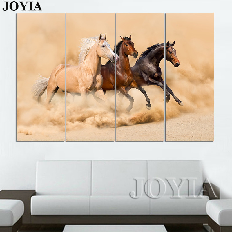 Large Wall Art Canvas Prints 3 Piece Horse Paintings Running Horses ...