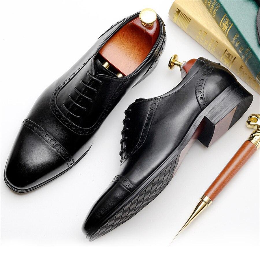 Свадебные туфли Броги из 100% натуральной коровьей кожи; мужская повседневная обувь на плоской подошве; винтажные оксфорды ручной работы для ... - 4