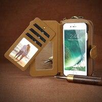 נרתיק עור עבור iPhone 7 6 S FLOVEME 6 בתוספת כיס רוכסן ארנק מקרי טלפון עור רב פונקציה 2 ב 1 להסרה פגזי תיק