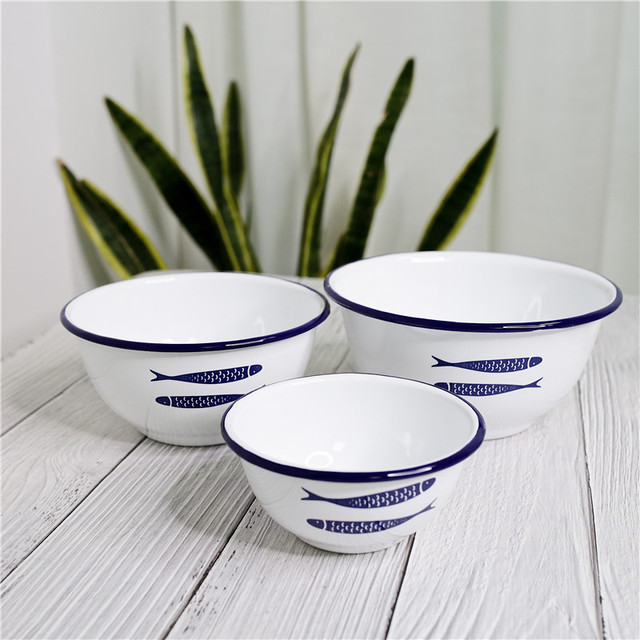 Enamel Plates Deep Dish Snack Tray Water Cup Salad Bowl Dinnerware Sets