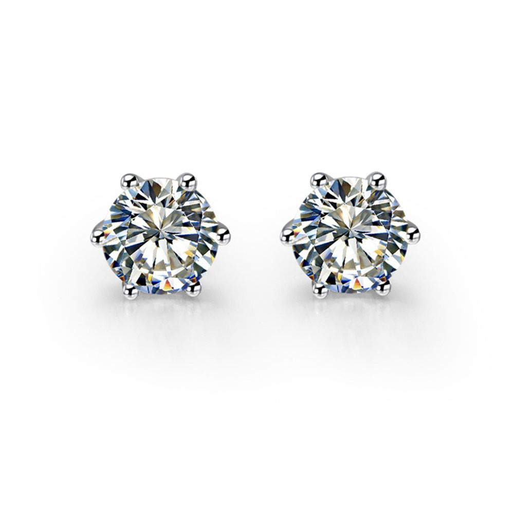 round ct stud p gold w diamond diamonds wh earrings white carat