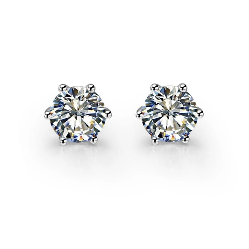 2 Ct Piece Round Cut Six Prongs Brand Custom Stud Sona Simulate Diamond Stud Earrings Best Women Wedding Anniversary Day Gift Earring Charm Gift Baggift Box Earrings Aliexpress