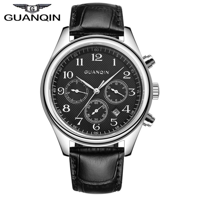 GUANQIN GQ25 Original Men's Quartz Watches Men Top Brand Luxury Wristwatches Classic Leather Strap Watch Hours Clock Male wristwatches luxury brand men quartz gold watch sapphire leather strap watches men 12 month guarantee bg0389