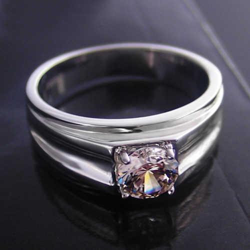 Threeman auténtico joyería masculina de plata 1CT SONA anillo de compromiso de diamantes para hombre chapado en platino Pt950 joyería grabada para hombre