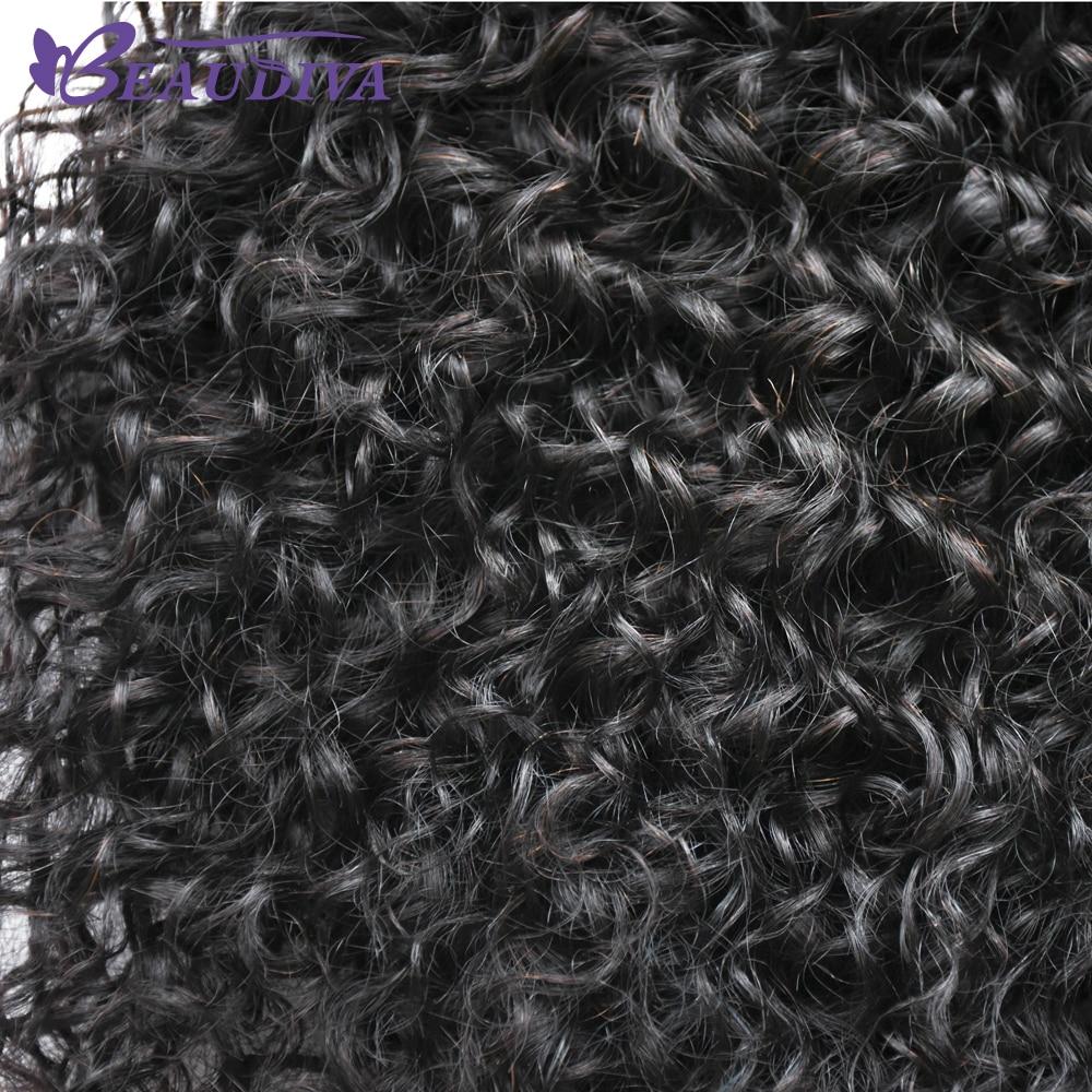 Beaudiva malaisie Afro bouclés perruque queue de cheval cordon court Afro crépus queue de poney Clip sur cheveux bouclés humains chignon fait - 5