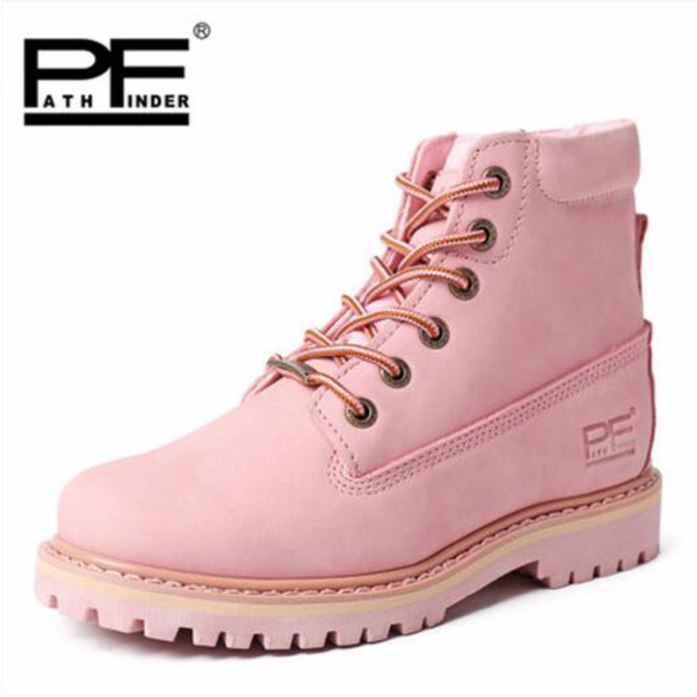 Pathfind Hot sale Leather Lady ankle Boots Lovers Waterproof Motorcycle Martin timber shoes Tooling women Outdoor Western Botas