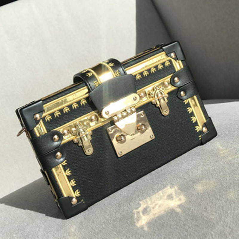 Luxury Brand Handbag Women Evening Bag Metal Rivet Clutch Famous Design Box Bag Party Purse Women Shoulder Bags Bolsa Sac A Main 2016 fashion famous brand handbag folding clutch purse evening party leather women shoulder messenger bag bb0808