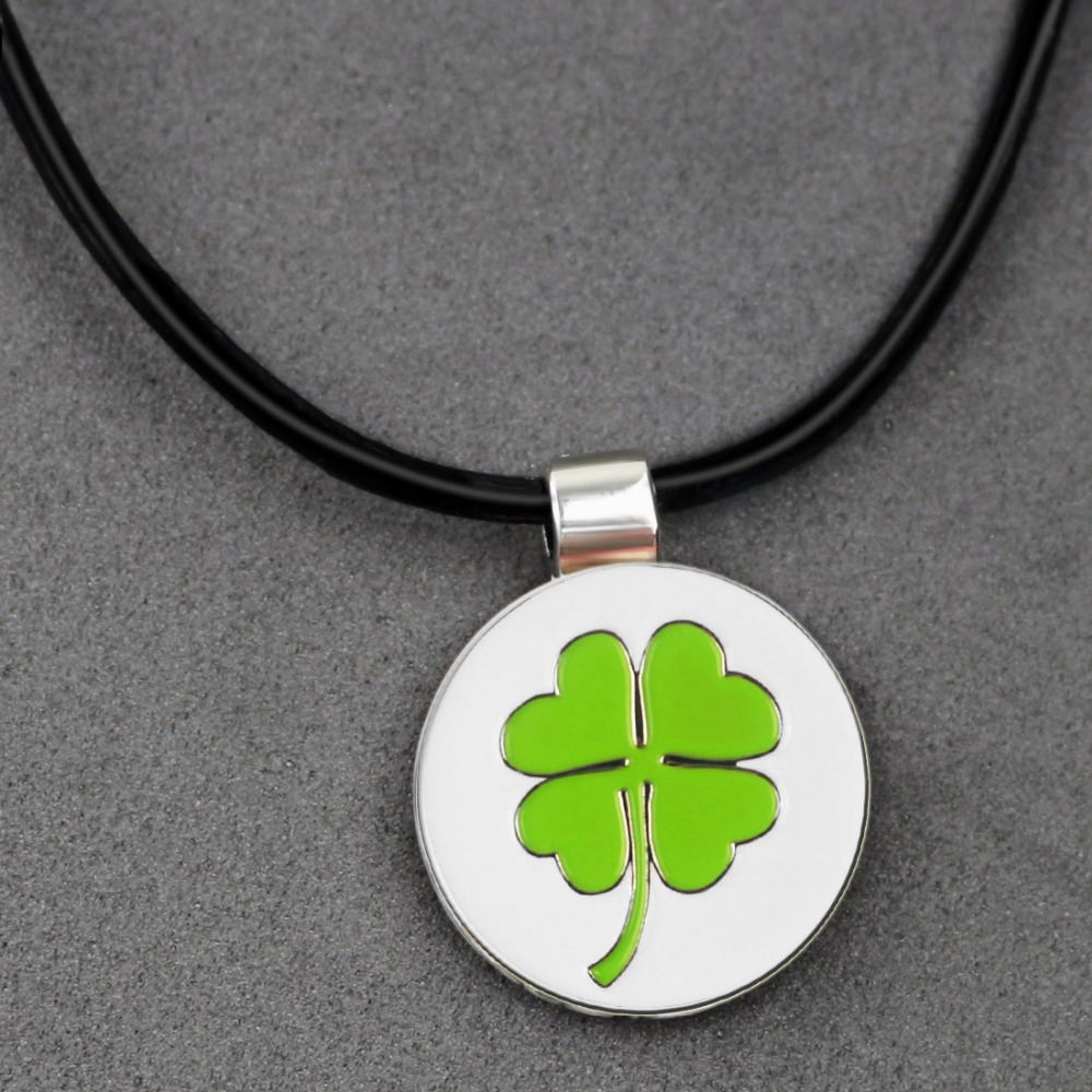 PINMEI Beautiful Clover Golf Ball Mark With Magnetic Pendant Necklace Leather Cord- Good Way To Carry Your Golf Markers