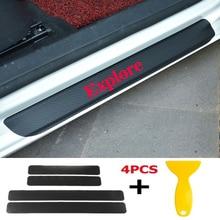 4pcs/set Car Door Window Protector Sticker Carbon Fiber Vinyl for Explore