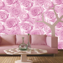 3D Romantic Rose Wallpaper Flower For Living room Sofa Cozy Home Decor Embossed Floral non-woven Purple Blue Pink Wall paper
